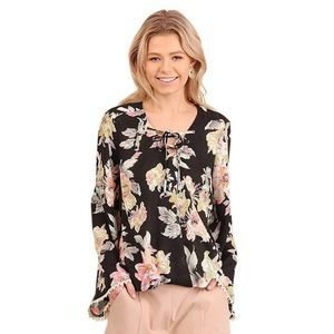 Umgee Floral V-Neck Top Size XL